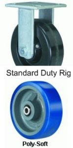 "Endurance Rigid Caster - 8"" x 3"" Poly-Soft Wheel, 2000 lbs Cap., Tapered Bearing"
