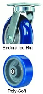 "Endurance Swivel Caster - 8"" x 3"" Poly-Soft Wheel, 2000 lbs Cap., Tapered Bearing"