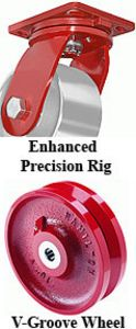 "Precision Rigid Caster - 8"" x 4"" V-Grooved Wheel"