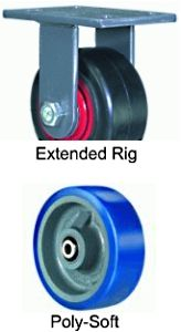 "Extended Service Rigid Caster - 6"" x 3"" Poly-Soft Wheel, 1800 lbs Cap."