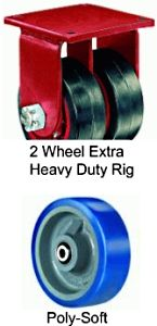 "Extra Heavy Duty Dual-Wheel Rigid Caster - 10"" x 3"" Poly-Soft Wheel, 4800 lbs Cap., Ball Bearing"