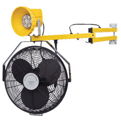 "LED Module Work Light w/ 18"" Fan & Polycarbonate Lamp Head- 24"" Arm"