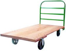 Wood Platform Truck, 30 x 60, with Fixed Rack Handle and 5 x 2 Rubber Casters - 1200 lbs. Cap.