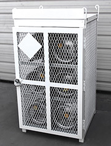 "6 Bottle (33 lb.) Gas Cylinder Cage - 30""W x 30""D x 53""H, Powder Coat White"