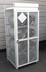 "8 Bottle (33 lb.) Gas Cylinder Cage - 30""W x 30""D x 70""H, Powder Coat White"