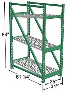Heavy Duty Gravity Skatewheel Flow Rack, 84h x 24w x 60d, 3 Shelves