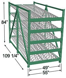 Heavy Duty Gravity Skatewheel Flow Rack, 84h x 48w x 108d, 5 Shelves