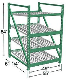 Heavy Duty Gravity Skatewheel Flow Rack, 84h x 48w x 60d, 4 Shelves