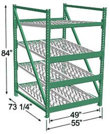 Heavy Duty Gravity Skatewheel Flow Rack, 84h x 48w x 72d, 4 Shelves