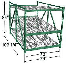 Heavy Duty Gravity Skatewheel Flow Rack, 84h x 72w x 108d, 3 Shelves