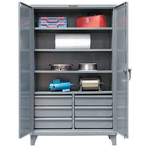 "Storage Cabinet with 3 Adjustable Shelves and 6 Half-Width Drawers - 60""w x 24""d x 72""h"