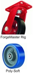 "ForgeMaster Swivel Caster - 8"" x 3"" Poly-Soft Wheel, 2000 lbs Cap., Ball Bearing"