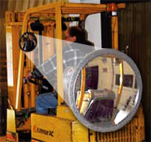 visibility mirror mounted on forklift