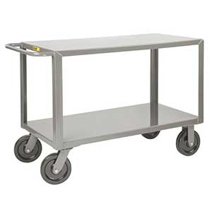 "Heavy Duty Service Cart - 2 Shelves, 36""W x 72""L, 2 Swivel & 2 Rigid Casters"