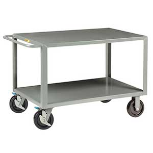 "Heavy Duty Service Cart - 2 Shelves, 24""W x 48""L, 4 Swivel Casters"