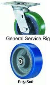 "General Service Swivel Caster - 8"" x 2"" Poly-Soft Wheel, 900 lbs Cap., Ball Bearing"