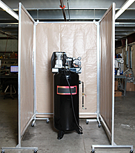 "Vertical Acoustic Screen w/ Casters - 3 Sides, 60""W x 60""L x 96""H"