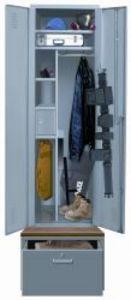 Task force locker with upper security box, shelves, & drawer/base