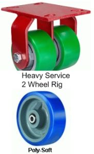 "Heavy Service Dual-Wheel Rigid Caster - 6"" x 2"" Poly-Soft Wheel, 1920 lbs Cap., Tapered Bearing"