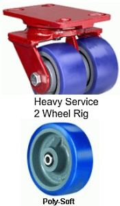 "Heavy Service Dual-Wheel Swivel Caster - 5"" x 2"" Poly-Soft Wheel, 1680 lbs Cap., Tapered Bearing"