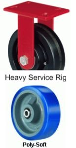 "Heavy Service Rigid Caster - 4"" x 2"" Poly-Soft Wheel, 600 lbs Cap."
