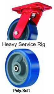 "Heavy Service Swivel Caster - 4"" x 2"" Poly-Soft Wheel, 600 lbs Cap."