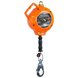 Self Retracting Fall Protection Lanyard, 20' Cable, 420 lb. Capacity, ANSI Class B