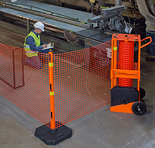 Portable Safety Zone Barricade System - 100' fencing w/4 Posts, Base Pads and Fence Clips