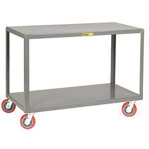 "Mobile Table - 3,600 lb. Capacity, 2 Shelves, 24""W x 48""L x 34""H, Swivel Casters"