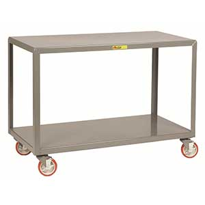 "Mobile Table - 1,000 lb. Capacity, 2 Shelves, 24""W x 60""L x 34""H, Wheel Brakes"