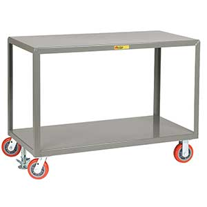 "Mobile Table - 3,600 lb. Capacity, 2 Shelves, 30""W x 60""L x 34""H, Rigid & Swivel Casters"