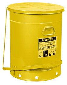 Yellow Oily Waste Can, 21-gal. with foot operated cover