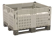 "Removable Side Pallet Container - 48""W x 40""D x 28""H, Vented, Gray"