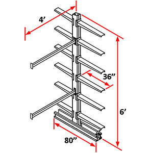 "Cantilever Rack Double Sided Adder - 6'H x 4'W - (12) 36"" Arms 500 lb. Cap. ea."