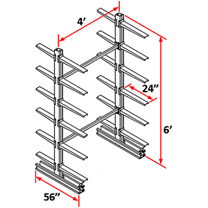 "Cantilever Rack Double Sided Starter - 6'H x 4'W - (24) 24"" Arms 800 lb. Cap. ea."