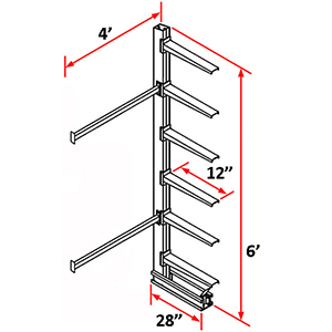 "Cantilever Rack Single Sided Adder - 6'H x 4'W - (6) 12"" Arms 1,200 lb. Cap. ea."