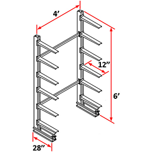 "Cantilever Rack Single Sided Starter - 6'H x 4'W - (12) 12"" Arms 1,200 lb. Cap. ea."