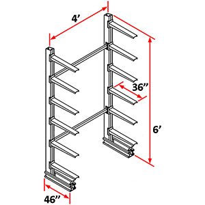 "Cantilever Rack Single Sided Starter - 6'H x 4'W - (12) 36"" Arms 500 lb. Cap. ea."
