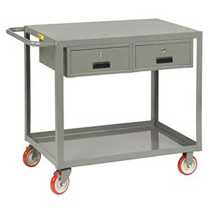"Service Cart with 2 Drawers - 24""W x 36""L, Flush Top"