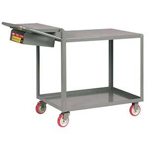 "Order Picking Cart - 2 Shelves, 24""W x 48""L, Flush Top, Storage Pocket"