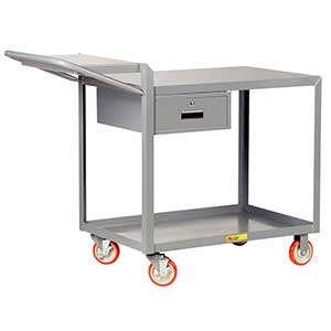 "Order Picking Cart - 2 Shelves, 24""W x 36""L, Flush Top, Drawer"