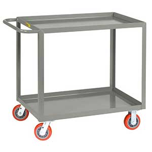 "Medium Duty Service Cart - 2 Shelves, 30""W x 48""L, Lip Top"