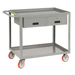 "Service Cart with 2 Drawers - 24""W x 48""L, Lip Top"