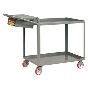 "Order Picking Cart - 2 Shelves, 24""W x 36""L, Lip Top, Storage Pocket"
