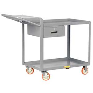 "Order Picking Cart - 2 Shelves, 24""W x 48""L, Lip Top, Drawer"