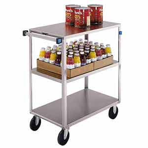 "Stainless Steel Supply Cart - 3 Flush Shelves, 18""W x 31""L, 500 lb. Cap."