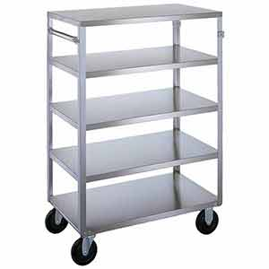 "Stainless Steel Supply Cart - 5 Lipped Shelves, 18""W x 31""L, 500 lb. Cap."