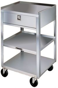 "Stainless Steel Equipment Stand - 3 16-3/4"" x 18-3/4"" Shelves, 1 Drawer, 300 lb. Cap."