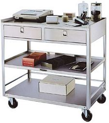 "Stainless Steel Equipment Stand - 3 20-1/8"" x 36-3/8"" Shelves, 2 Drawers, 500 lb. Cap."