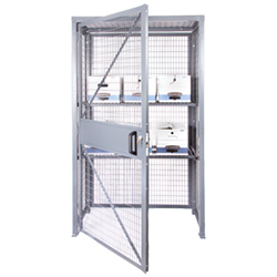 "Wire Mesh Security Cabinet, 18"" D x 84"" H x 48"" W - Single Hinged Door - Knocked Down"